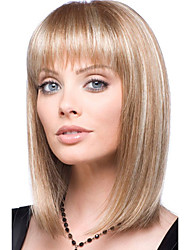 cheap -Human Hair Blend Wig Medium Length kinky Straight Natural Straight Bob Blonde Fashionable Design Adjustable Lovely Capless Women's All Natural Black Medium Auburn / Bleach Blonde 14 inch