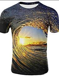 cheap -Men's Plus Size T-shirt - Galaxy / 3D Print Round Neck Light Brown