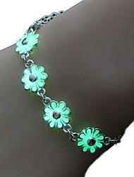 cheap -Women's Luminous Stone Chain Bracelet Vintage Bracelet Vintage Style Flower Sweet Lolita Fashion Alloy Bracelet Jewelry Green / Blue For Halloween Bar