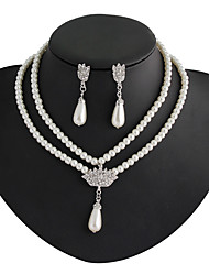 cheap -Women's Drop Earrings Pendant Necklace Bridal Jewelry Sets Classic Pear Stylish Classic Imitation Pearl Rhinestone Silver Plated Earrings Jewelry White For Wedding Party 1 set / Y Necklace