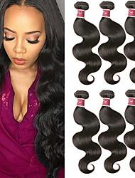 cheap -6 Bundles Peruvian Hair Body Wave Remy Human Hair 100% Remy Hair Weave Bundles Natural Color Hair Weaves / Hair Bulk Extension Bundle Hair 8-28 inch Natural Color Human Hair Weaves Odor Free Extender