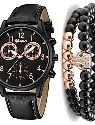 cheap -Men's Dress Watch Quartz Gift Set Leather Black / Blue / Brown No Chronograph Cute Creative Analog New Arrival Fashion - Black / White Black / Blue White / Brown One Year Battery Life