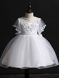 cheap -Princess Midi Wedding / Birthday Satin / Tulle Sleeveless Jewel Neck with Bow(s) / Pearls / Beading