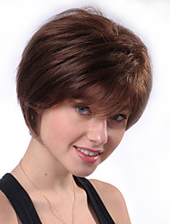 cheap -Human Hair Wig Short Natural Straight Pixie Cut Brown New Comfortable African American Wig Capless Women's All Brown
