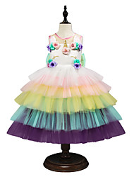 cheap -Princess Midi Birthday Chiffon / Tulle Sleeveless Jewel Neck with Petal / Embroidery / Appliques