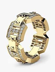 Недорогие -Муж. Кольцо Цирконий 1шт Белый Желтый Розовое золото Медь Позолота Позолоченное розовым золотом Геометрической формы Стиль Роскошь Для вечеринок Подарок Бижутерия Острие ножа Cool