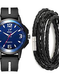 cheap -Men's Sport Watch Quartz Gift Set Silicone Black No Chronograph Cute Cool Analog New Arrival Fashion - Black / White Black / Yellow Black / Blue One Year Battery Life / Large Dial