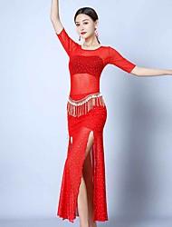 cheap -Belly Dance Dresses Women's Performance Tulle Ruching / Split Half Sleeve Dress