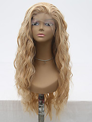 cheap -Synthetic Lace Front Wig Wavy Side Part Lace Front Wig Blonde Long Flaxen Synthetic Hair 18-24 inch Women's Adjustable Heat Resistant Party Blonde