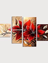 Недорогие -Hang-роспись маслом Ручная роспись - Цветочные мотивы / ботанический Modern Включите внутренний каркас / 5 панелей
