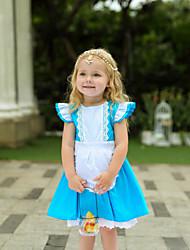 cheap -Kids Toddler Girls' Vintage Sweet Patchwork Short Sleeve Knee-length Dress Blue