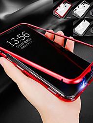 Недорогие -Кейс для Назначение Apple iPhone XS / iPhone XR / iPhone XS Max Защита от удара / Прозрачный / Магнитный Кейс на заднюю панель Однотонный Твердый Закаленное стекло / Металл