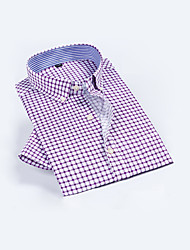 cheap -Men's Cotton Shirt - Plaid Blue
