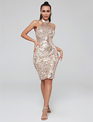 cheap -Sheath / Column High Neck Knee Length Sequined Sparkle / Gold Cocktail Party / Nightclub Dress with Sequin 2020
