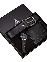 cheap -Men's Dress Watch Quartz Gift Set Casual Chronograph Analog Black / Two Years / Leather / Large Dial / Two Years