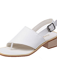 cheap -Women's Sandals Chunky Heel Open Toe Buckle Faux Leather Casual Walking Shoes Summer White / Black / Yellow