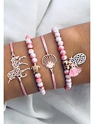 cheap -4pcs Women's Bead Bracelet Hologram Bracelet Pendant Bracelet Layered Turtle Pineapple Shell Artistic Casual / Sporty Sweet Fashion Elegant Hemp Rope Bracelet Jewelry Pink For Daily School Street