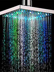 cheap -Square Multicolor Bathroom 1/3/7 Colors Automatic Changing Slowly Water Glow LED Light Rain Top Shower Head Electroplated and Ceiling Mounted