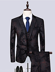 cheap -Tuxedos Tailored Fit / Standard Fit Notch Single Breasted Two-buttons Cotton Blend / Cotton / Polyester Floral / Botanical