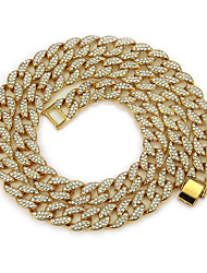 cheap -Men's Chain Necklace Classic Cuban Link Mariner Chain Punk Rock Zircon Gold Plated Chrome Gold Silver 50 cm Necklace Jewelry 1pc For Daily Street