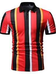 cheap -Men's Striped Color Block Black & White Print Polo Business Work Red / Green