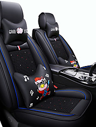 cheap -Car Seat Covers Headrest & Waist Cushion Kits Black / Red / Black / White / Black / Blue PU Leather / leatherette Business / Cartoon For universal All years Five seats
