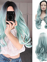 cheap -Synthetic Wig / Synthetic Lace Front Wig Wavy / Body Wave Jenner Style Middle Part Lace Front Wig Green Black / Green Synthetic Hair 26inch Women's Classic / Synthetic / Color Gradient Green / Ombre