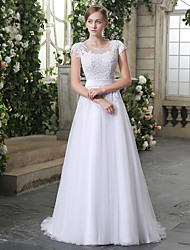 cheap -A-Line Jewel Neck Court Train Lace / Tulle Short Sleeve Wedding Dresses with Sashes / Ribbons / Beading / Appliques 2020