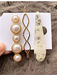 cheap -Women's For Casual Date Imitation Pearl Resin Alloy White Brown Gray 3pcs