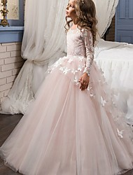 cheap -Ball Gown Sweep / Brush Train Flower Girl Dress - Lace Long Sleeve Jewel Neck with Appliques / Bow(s)