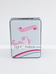 abordables -Miroir cosmétique motif de licorne portable en verre pu pour les gens maquillage quotidien porter pliable 1 pc