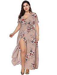 cheap -Women's Maxi Plus Size Khaki Dress Boho Sheath Swing Floral V Neck Split Print XL XXL Loose