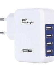 Недорогие -Быстрое зарядное устройство / Портативное зарядное устройство Зарядное устройство USB Евро стандарт Несколько разъемов / QC 3.0 4 USB порта 3.1 A 100~240 V для Универсальный