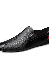 Недорогие -Муж. Комфортная обувь Кожа Весна лето Деловые / На каждый день Мокасины и Свитер Нескользкий Черный / Коричневый / Офис и карьера