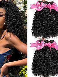 cheap -6 Bundles Indian Hair Kinky Curly Unprocessed Human Hair Headpiece Natural Color Hair Weaves / Hair Bulk Extension 8-28 inch Natural Color Human Hair Weaves Odor Free Extender Silky Human Hair