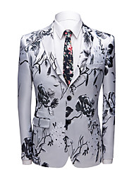 cheap -Men's Jacket Party Club Active Regular Geometric White L / XL / XXL