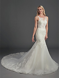 cheap -Mermaid / Trumpet Wedding Dresses Jewel Neck Chapel Train Lace Tulle Short Sleeve See-Through with Lace Appliques 2020