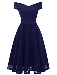 cheap -A-Line Hot Blue Holiday Cocktail Party Dress Off Shoulder Short Sleeve Knee Length Lace with Pleats Lace Insert 2020