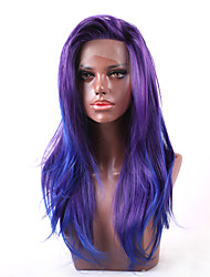 cheap -U Part / Lace Front Straight Chinese Lace Synthetic Hair Women's / All Women / Synthetic / Sexy Lady Party / Evening / Dailywear / Carnival / Purple / African American Wig