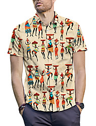 cheap -Men's Shirt - 3D / Portrait / Tribal Print Yellow