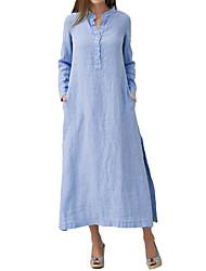 cheap -Women's Basic Street chic A Line Shift Dress - Solid Colored Split Blue White XXXXL XXXXXL XXXXXXL