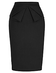 cheap -Women's Basic Pencil / Bodycon Skirts - Solid Colored Layered / Split / Patchwork Black Navy Blue S M L