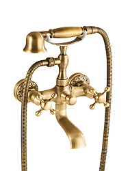 cheap -Bathtub Faucet Antique Brass Wall Mounted Ceramic Valve Bath Shower Mixer Taps / Two Handles Two Holes