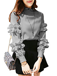cheap -Women's Solid Colored Ruffle Shirt Outdoor Party / Cocktail White / Black / Gray