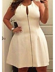 abordables -Femme Grandes Tailles Basique Mi-long Trapèze Gaine Robe Couleur Pleine Noir Blanche L XL XXL Sans Manches