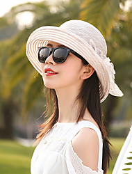 cheap -Women's Active Basic Cute Straw Straw Hat Sun Hat-Color Block Floral Print Spring Summer Navy Blue Pink / White Wine