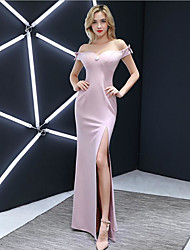 cheap -A-Line Sweetheart Neckline Floor Length Jersey Bridesmaid Dress with