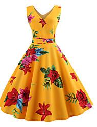 cheap -Women's Elegant A Line Dress - Floral Print Yellow L XL XXL