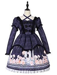 cheap -Traditional / Vintage Gothic Lolita Classic Lolita Dress Cosplay Costume Halloween Props Party Costume All Japanese Cosplay Costumes Purple Print Bowknot Lace Juliet Sleeve Long Sleeve Knee Length