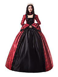cheap -Princess Maria Antonietta Floral Style Rococo Victorian Renaissance Dress Party Costume Masquerade Women's Lace Costume Black / Red Vintage Cosplay Christmas Halloween Party / Evening 3/4 Length